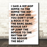 Watercolour White & Black I Said Hip Hop Rappers Delight Song Lyric Quote Print