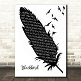 Alter Bridge Blackbird Black & White Feather & Birds Song Lyric Quote Music Print