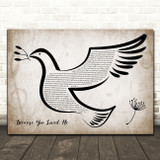 Celine Dion Because You Loved Me Vintage Dove Bird Song Lyric Quote Music Print