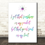 Rainbow Can't Stop The Feeling Justin Timberlake Song Lyric Quote Print