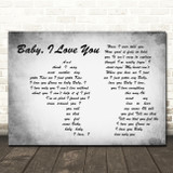 Ramones Baby, I Love You Man Lady Couple Grey Song Lyric Quote Music Print