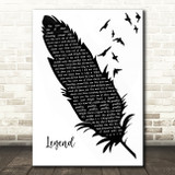 twenty one pilots Legend Black & White Feather & Birds Song Lyric Quote Music Print