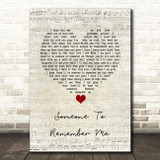 Russell Watson Someone to remember me Script Heart Song Lyric Quote Music Print