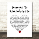 Russell Watson Someone to remember me White Heart Song Lyric Quote Music Print