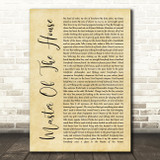 Les Miserables Cast Master Of The House Rustic Script Song Lyric Quote Music Print