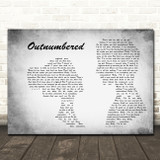 Dermot Kennedy Outnumbered Man Lady Couple Grey Song Lyric Quote Music Print
