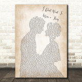 Aerosmith I Don't Want To Miss A Thing Song Lyric Man Lady Wedding Print