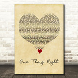 Marshmello & Kane Brown One Thing Right Vintage Heart Song Lyric Quote Music Print