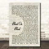 Bon Jovi Blood On Blood Vintage Script Song Lyric Quote Music Print