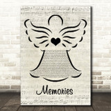 Maroon 5 Memories Music Script Angel Song Lyric Quote Music Print