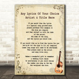 Any Song Any Artist Custom Personalised Song Lyric Vintage Quote Print