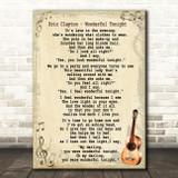 Eric Clapton Wonderful Tonight Song Lyric Vintage Quote Print