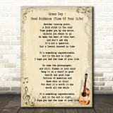 Green Day Good Riddance (Time Of Your Life) Song Lyric Vintage Quote Print