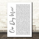 Les Miserables Cast One Day More White Script Song Lyric Quote Music Print