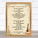 Joe Cocker You Are So Beautiful Song Lyric Vintage Quote Print