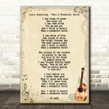 Louis Armstrong What A Wonderful World Song Lyric Vintage Quote Print