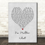 Boyzone No Matter What Grey Heart Song Lyric Quote Music Print