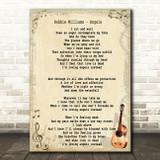 Robbie Williams Angels Song Lyric Vintage Quote Print