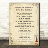 Gerry And The Pacemakers - You'll Never Walk Alone Song Lyric Guitar Quote Print