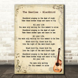 The Beatles Blackbird Song Lyric Vintage Quote Print