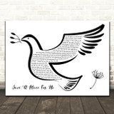 Matthew West Save A Place For Me Black & White Dove Bird Song Lyric Wall Art Print