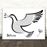 Imagine Dragons Believer Black & White Dove Bird Song Lyric Wall Art Print