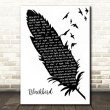 The Beatles Blackbird Black & White Feather & Birds Song Lyric Wall Art Print