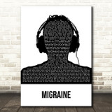 Twenty One Pilots Migraine Black & White Man Headphones Song Lyric Wall Art Print