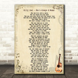 Billy Joel She's Always A Woman Song Lyric Quote Print
