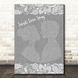 Little Mix Secret Love Song Grey Burlap & Lace Song Lyric Wall Art Print