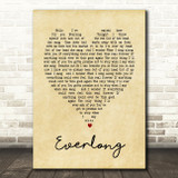 Everlong Foo Fighters Vintage Heart Song Lyric Quote Print