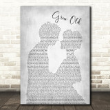 Florida Georgia Line Grow Old Man Lady Bride Groom Wedding Grey Song Lyric Wall Art Print