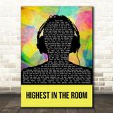 Travis Scott HIGHEST IN THE ROOM Multicolour Man Headphones Song Lyric Wall Art Print