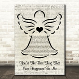 Gladys Knight You're The Best Thing That Ever Happened To Me Music Script Angel Song Lyric Wall Art Print