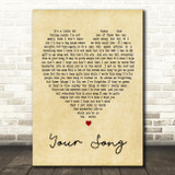 Your Song Elton John Vintage Heart Song Lyric Quote Print