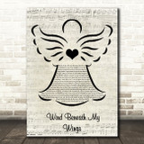Bette Midler Wind Beneath My Wings Music Script Angel Song Lyric Wall Art Print