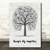 Train Drops Of Jupiter Music Script Tree Song Lyric Wall Art Print