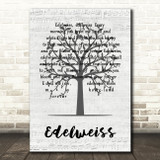 Julie Andrews Edelweiss Music Script Tree Song Lyric Wall Art Print