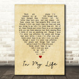 In My Life The Beatles Vintage Heart Quote Song Lyric Print