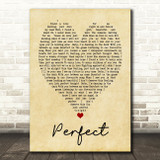 Perfect Ed Sheeran Vintage Heart Quote Song Lyric Print