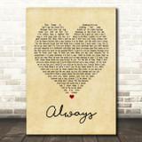 Bon Jovi Always Vintage Heart Song Lyric Quote Print