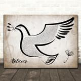 Imagine Dragons Believer Vintage Dove Bird Song Lyric Wall Art Print