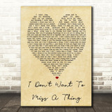 I Don't Want To Miss A Thing Aerosmith Vintage Heart Quote Song Lyric Print