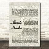 Original Broadway Cast Of Hamilton Alexander Hamilton Vintage Script Song Lyric Wall Art Print