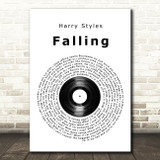 Harry Styles Falling Vinyl Record Song Lyric Wall Art Print