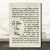 Fleetwood Mac Go Your Own Way Quote Song Lyric Print
