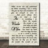 Elvis Presley The Wonder Of You Vintage Script Song Lyric Quote Print