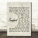 Fleetwood Mac Songbird Quote Song Lyric Print