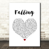 Harry Styles Falling White Heart Song Lyric Wall Art Print