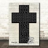 Any Song Lyrics Custom Music Script Christian Memorial Cross Song Lyric Print
